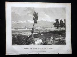 Clarke C1820 Antique Print. View of the City of Turin. Italy